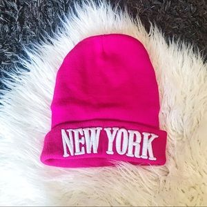 New York Beanie Hat Toque Hot Pink NYC Accessory